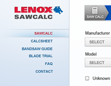 Lenox SAWCALC