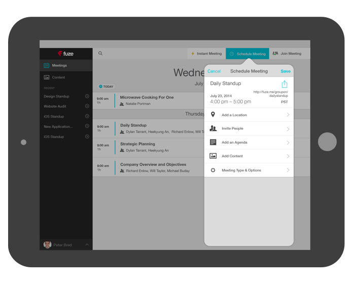 fuze for iPad meeting scheduling details