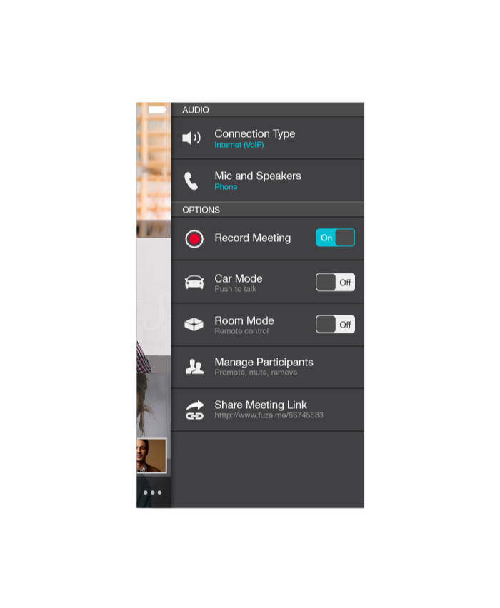 Fuze for iPhone In Meeting More Menu